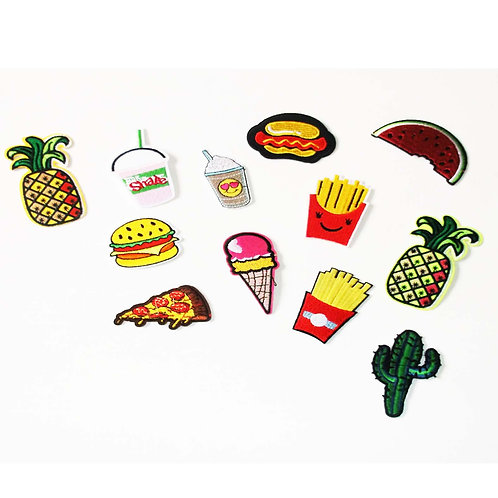 7 x Fast Food Mix Pack of Iron on Patches