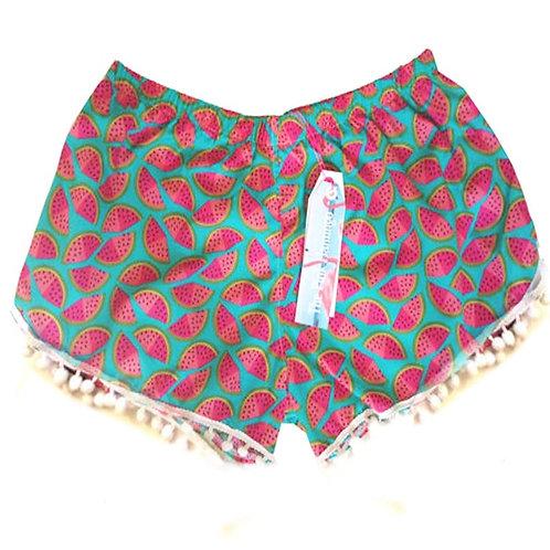 Turquoise Watermelon Print Pom Pom Shorts