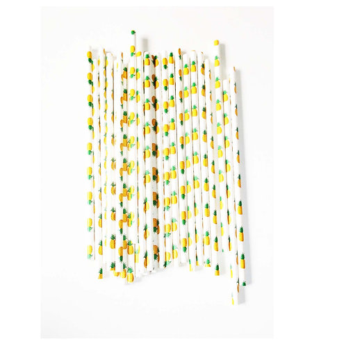 Cute Pineapple Printed Plastic Straws