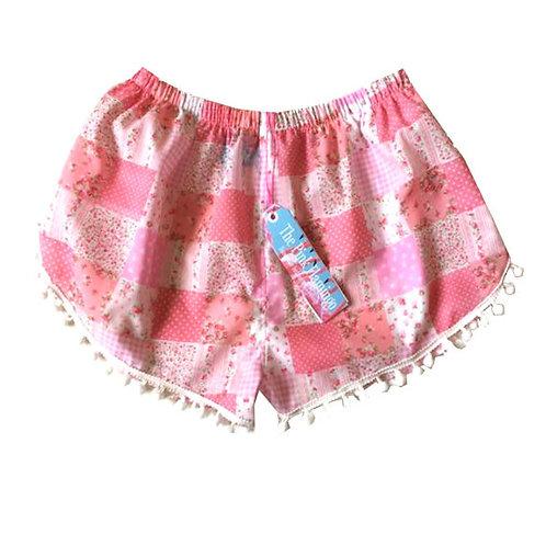 Pink Gingham Floral Print Pom Pom Shorts
