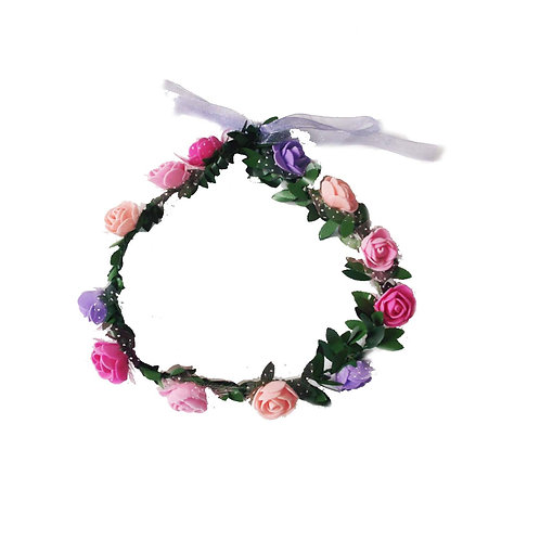 Pink and Purple Floral Head Garland