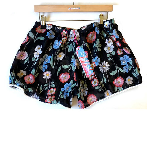 Black Floral Print Chiffon Shorts with Pom Pom Trim