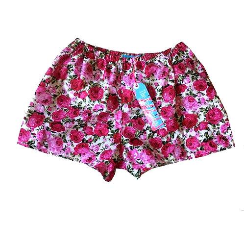 Bright Pink Rose Print Basic Shorts