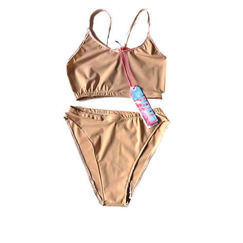 Nude Lycra Sports Crop Top Bikini Set