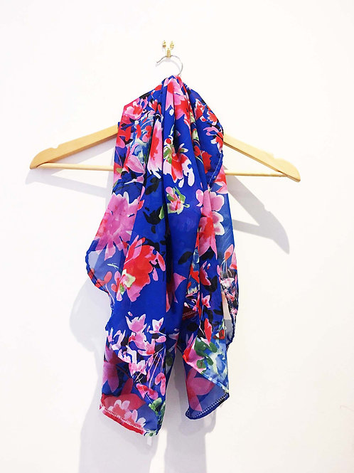 Blue and Red Vintage Floral Print Scarf