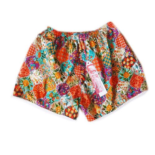 Orange Bauble Floral Print HighWaisted Shorts with Braid Hem