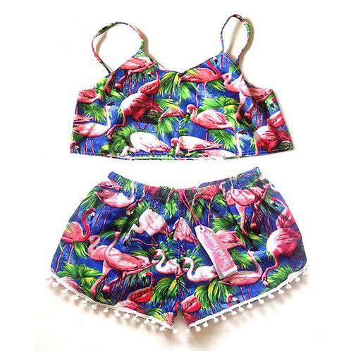Flamingo Print Crop Top and Pom Pom Shorts Set
