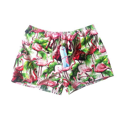 White and Green Flamingo Print Basic Shorts