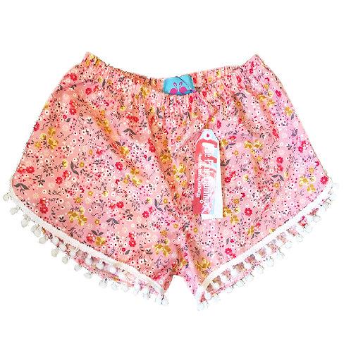 Pink Ditsy Floral Print Pom Pom Shorts