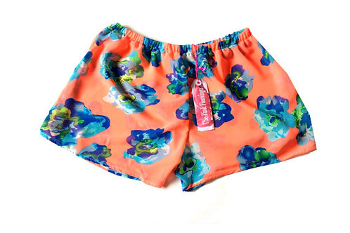 Orange and Blue Bold Floral Chiffon Shorts