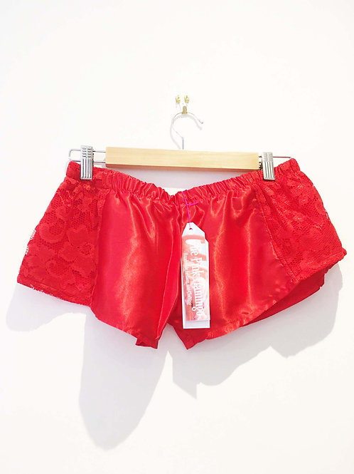 s10 -12 Red Satin and Vintage Lace Short Shorts