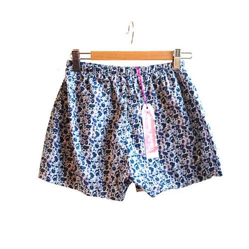 Pretty Blue Paisley Print High Waisted Shorts