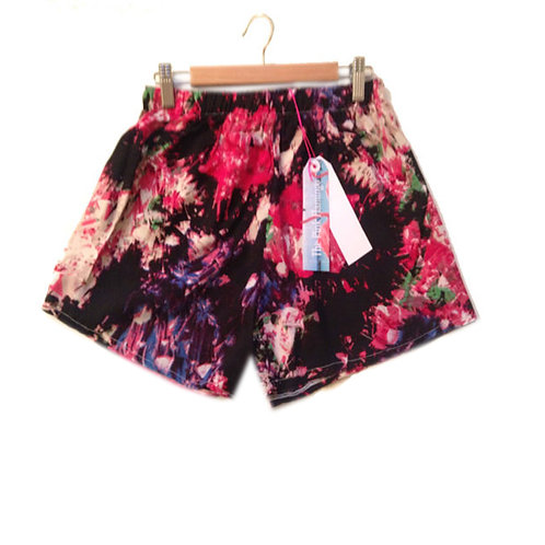 HighWaisted Black and Abstract Rainbow Print Basic Shorts