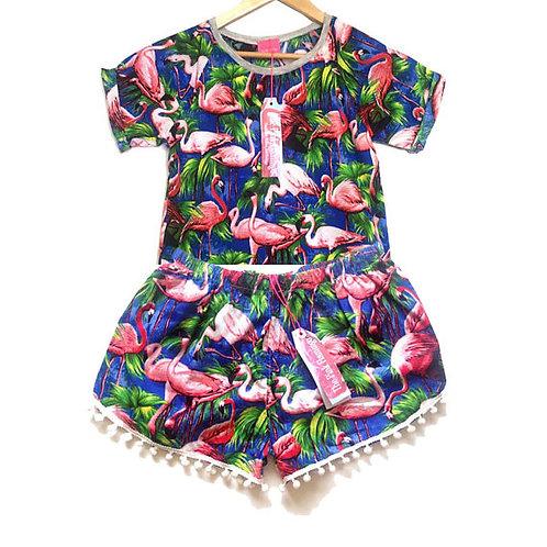 Royal Blue Flamingo Print Raglan Tee and Pom Pom Shorts Set
