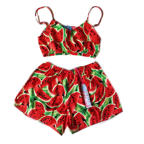 Red Retro Watermelon Print Bralet and Basic Shorts Set