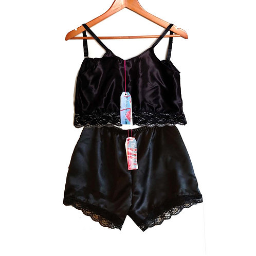 Black Satin Camisole with Floral Lace Trim