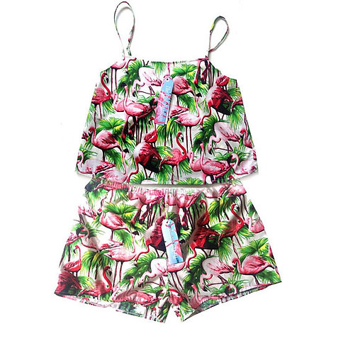 Retro Flamingo Print Swing Cami and Shorts Set