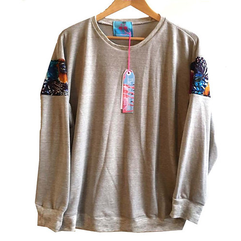 Floral Print Raglan Sleeve Slouchy Sweater