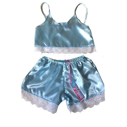 Pale Blue Satin Camisole and Lace Shorts Set