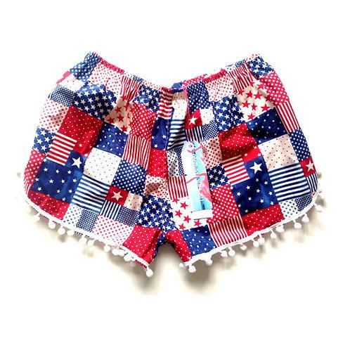 "Red ""All American"" Print Pom Pom Shorts"