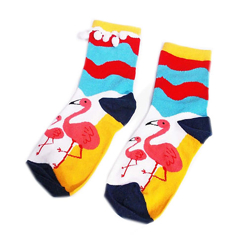 Multi Coloured Stripe Flamingo Socks