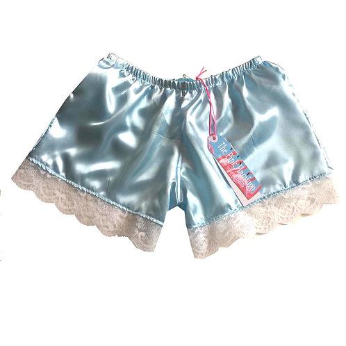 Pale Blue Satin Shorts with Floral Lace Trim