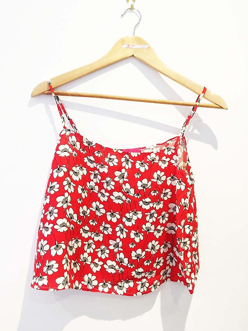 Red and White Floral Viscose Camisole