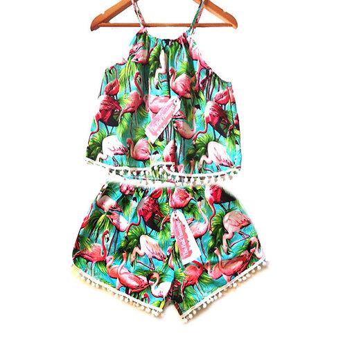 Retro Flamingo Print Halter top and Pom Pom shorts