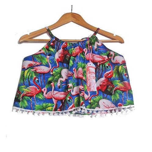 Royal Blue Retro Flamingo Print Pom Pom Halter Top