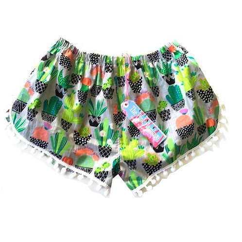 Age 8 - 9 Childrens Grey Cactus Print Pom Pom Shorts
