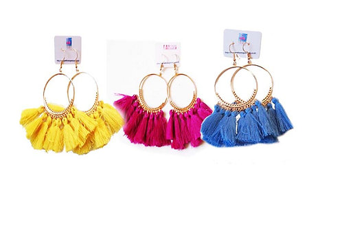 Gorgeous Fuschia Tassel Fan Earrings