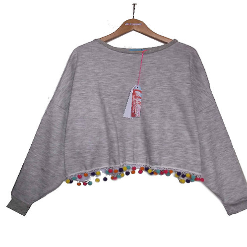 Grey Marl Slouchy Sweater with Large Rainbow Pom Pom Hem