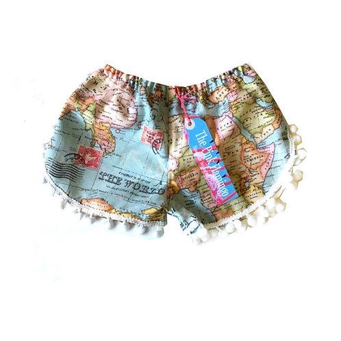 """Children's """"Map of the World"""" Pom Pom Shorts"""