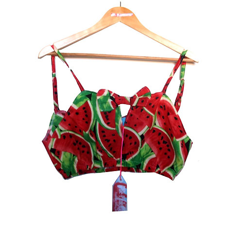 Red Watermelon Print Retro Bralet Top