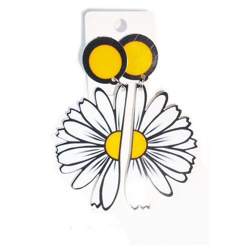 Retro Half Daisy Acrylic Earrings