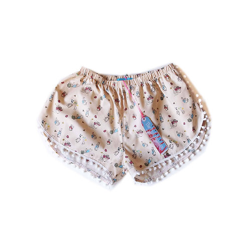 Children's Peter Rabbit and Friends Print Pom Pom Shorts