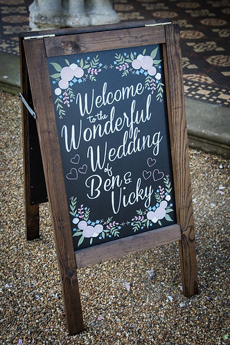 One Sided HAND PAINTED Wedding Chalkboard