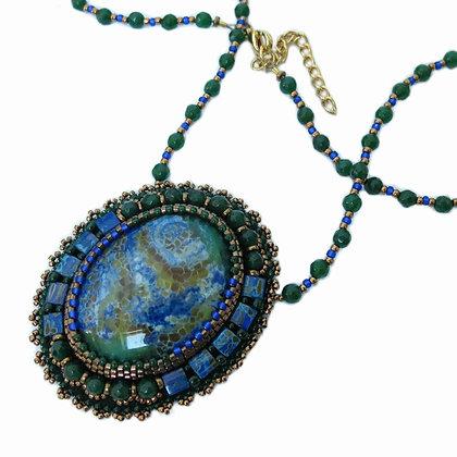 Collier avec agate, vert / bleu