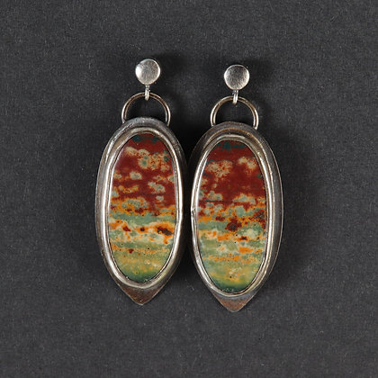 Jasper, 925 silver, unique statement earrings, red green yellow colour