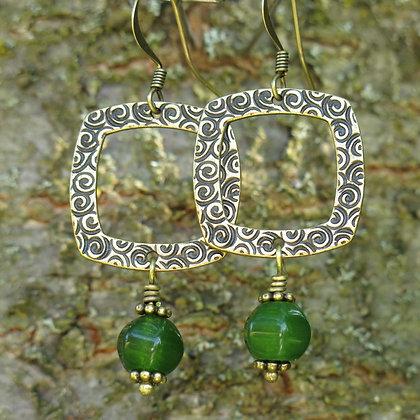 Boucles d'oreilles rustiques avec jade