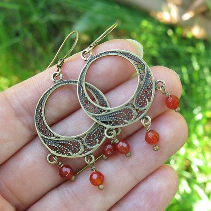 Boucles d'oreilles rustiques avec cornaline