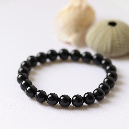 Bracelet en tourmaline noire, 8 mm