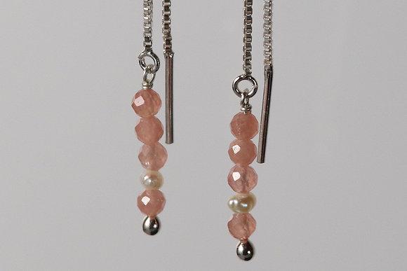Rhodochrosite long simple earrings in silver 925, rose