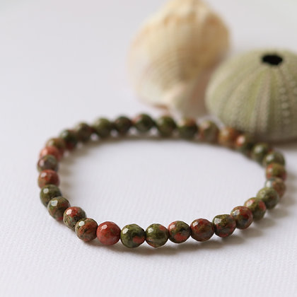 Unakite bracelet, 6 mm, facetted beads