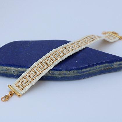Bracelet tissé en perles Miyuki, BLANC / doré, 1,5 cm