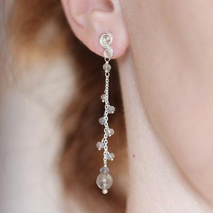 Labradorite Cluster Earrings, 925 silver