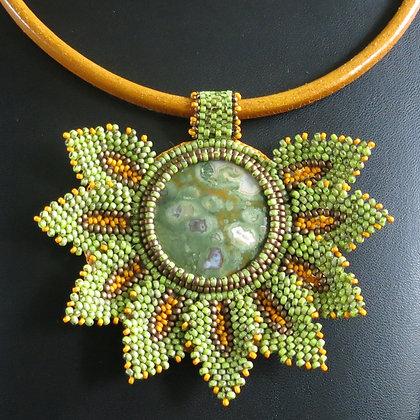 Necklace with rhyolite jasper