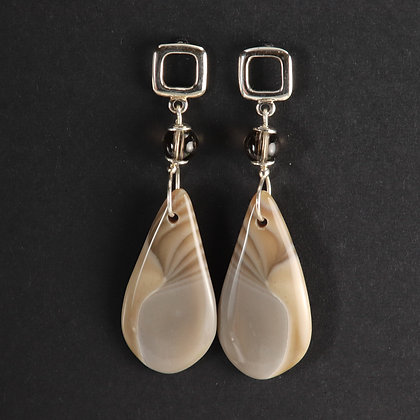 Flint stone, 925 silver, unique statement earrings, grey taupe colour