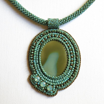 Necklace with imperial jasper cabochon oncrochet beaded rope