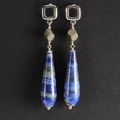Lapis lazuli, 925 silver, unique statement earrings, blue colour